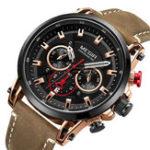 New MEGIR 2085 Military Date Chronograph Leather Men Watch