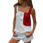 New Women Casual Color Patchwork Sleeveless Strap Vest Tank Tops