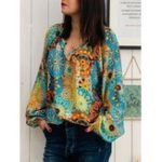 New Plus Size Bohemian Printed Long Sleeve Women Blouse