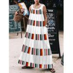 New Women Holiday O-neck Sleeveless Printed Maxi Dress