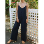 New Solid Color Sleeveless Straps Jumpsuit Overalls
