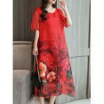 New Women Chiffon Floral Dress