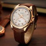 New YAZOLE 325 Men Crystal Luminous Leather Band Quartz Watch