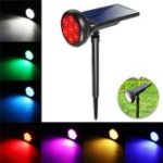 New Solar Power 7 LED RGB Spot Light Outdoor Garden Yard Lawn Path Patio Wall Lamp