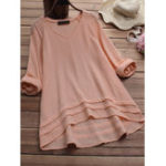 New Women Solid Color High Low Hem Long Sleeve Blouse