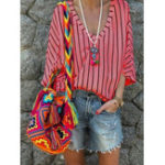 New Women Casual Striped V-Neck Blouse