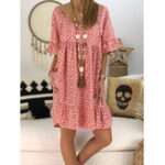 New S-5XL Women Loose Floral Print Short Sleeve Dress