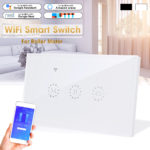 New 2200W WiFi Smart Wall Touch Light Switch Glass Panel Wireless Remote Control by Mobile APP For Roller Shutter Curtain Electric Door Touch Switch