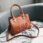 New Women PU Leather Embroidery Lotus Handbag