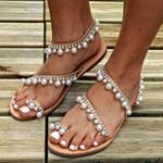 New Large Size Pearls Slip On Casual Flat Sandals