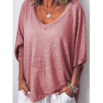 New Women Loose V-neck Batwing Sleeve Casual T-shirts