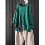 New Women Casual Cotton Linen Crew Neck T-Shirts