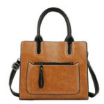 New Women PU Leather Tote Handbag Retro Solid Leisure Bag
