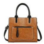 New Women PU Leather Tote Handbag Retro Solid Leisure Bag