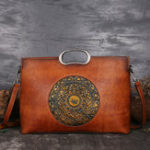 New Women Vintage Genuine Leather Embossed Handbag