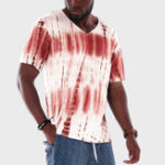 New Men Tie Dye Stripe V-Neck Short Sleeve Loose T-Shirts