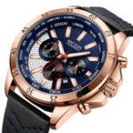 New MEGIR 2103 Military Chronograph Leather Men Quartz Watch