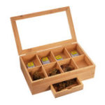 New Wooden Tea Coffee Box 8 Section Compartments Glass Lid Multi Storage Spice Chest Kitchen Storage Container