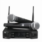 New EPXCM A-666 UHF Wireless 2Ch Handheld Mic Cardioid Microphone System for Kraoke Speech Party
