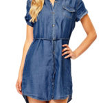 New Women Button Denim Irregular Shirt Dress