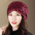 New Women Summer Lace and Cotton Breathable Beanie Cap