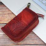 New Men Vintage Genuine Leather Embossing Key Holder