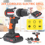 New 24V 2 Speed Cordless Power Drills Rechargable Electric Drill 15+1 Clutches 2 Lithium Batteries Drill Tool