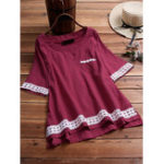 New Women Solid Color Lace Patchwork Half Sleeve Blouse