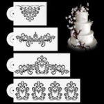 New 4Pcs Damask Lace Flower Designer Stencil Mould for Wedding Party Cake Decorations