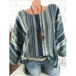 New Women Casual Striped Crew Neck 3/4 Sleeve Blouse