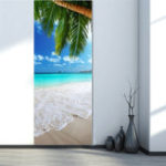 New 3D Beach Door Sticker Fridge Decals Mural Home Wall Decorations