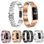 New Crystal Stainless Steel Watch Band Wrist Strap for Fitbit Charge 3 Smart Watch
