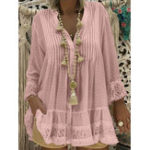 New Lace Stitching Button Blouse