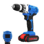 New 36V Cordless Drill Double Speed 18+1 Torque Adjustment Electric Screwdriver Power Drills W/ 1/2 Li-Ion Battery Accessories