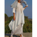 New Women 3/4 Sleeve High Low Hem Linen Cotton Dress
