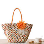 New Women Straw Woven Handbag Floral Beach Bag