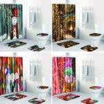 New 4PCS Xmas Bath Mat Set Non-slip Floor Rug Bathmat Toilet Cover Shower Curtain