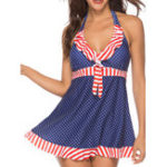 New Split Halter Skirt Large Size Polka Dot Printing Swimwear
