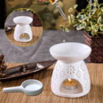 New Ceramic Wax Melt Warmer/Oil Incense Burner Daisy Cut-Out Design Incense Holder