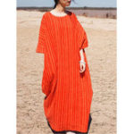 New Striped Half Sleeve O-neck Loose Baggy Dress