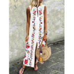 New Bohemian Floral Sleeveless High Split Long Dress