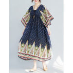 New Women Ethnic Printed V-neck Half Sleeve Long Dress