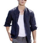 New Men Vertical Stripe Cotton Half Sleeve Loose Shirts