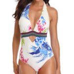 New One-Piece Halter Printing Slim Ladies Swimwear