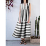 New Women Stripe V-neck Sleeveless Pleated Loose Dress