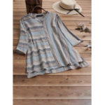 New Vintage Striped Button Strand Collar Irregular Hem Blouse