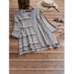 New Vintage Striped Button Strand Collar Irregular Hem Blouse