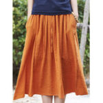New Women Casual Solid Color Cotton Linen Skirts