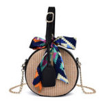 New Women Straw Round Crossbody Bag Twilly Scarf Woven Bags