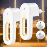New 2pcs LED Light Sensor Night Lamp Socket Wall Plug-in Child bedroom Hallway AC100-240V